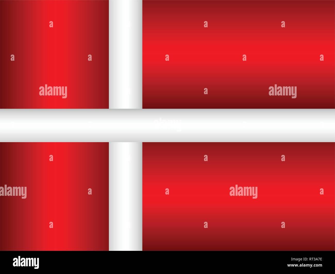 Shiny flag of the Denmark - Illustration,  Three dimensional flag of Denmark - Stock Vector
