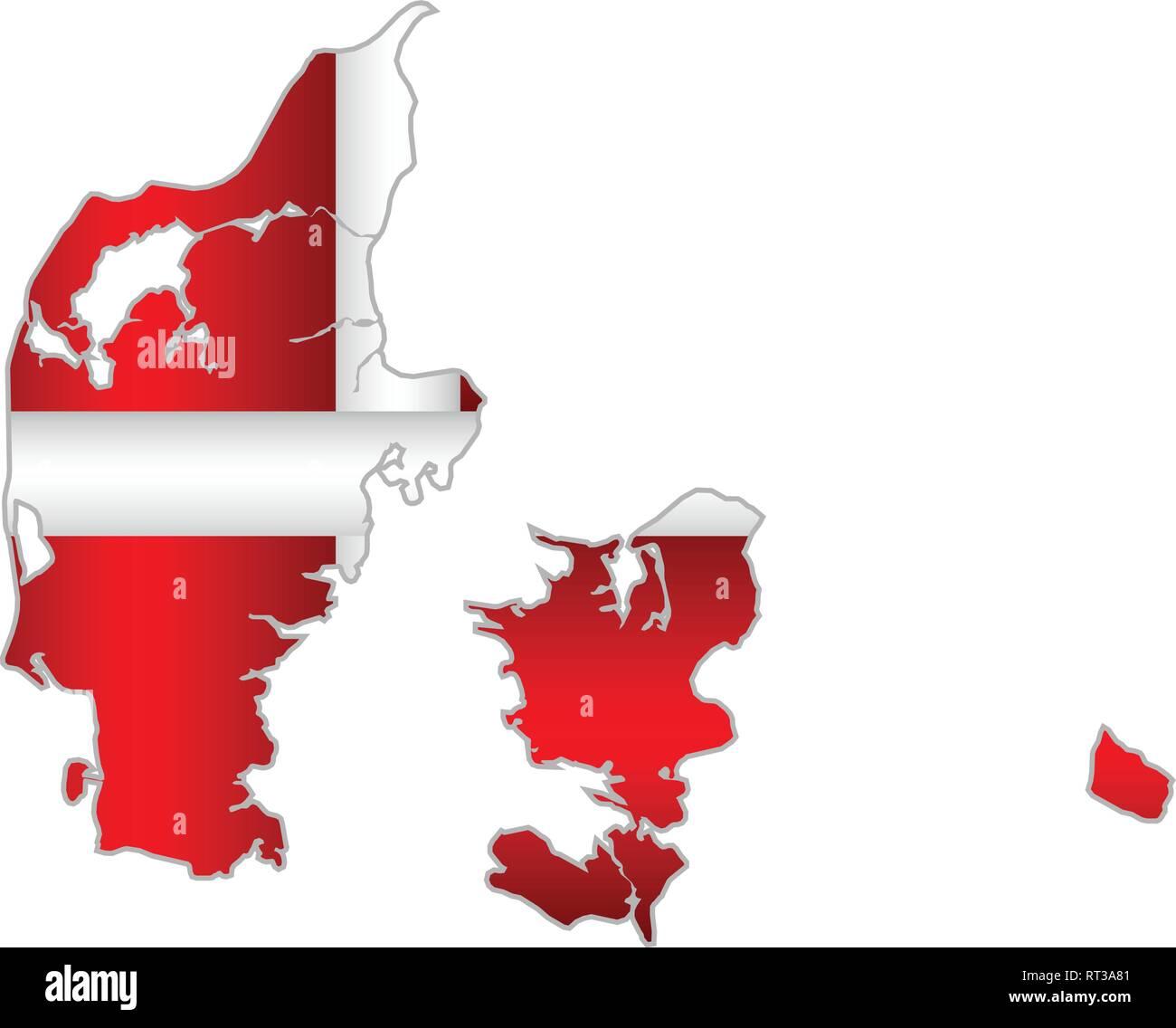 Shiny map of the Denmark - Illustration,  Three Dimensional Map of Denmark - Stock Vector