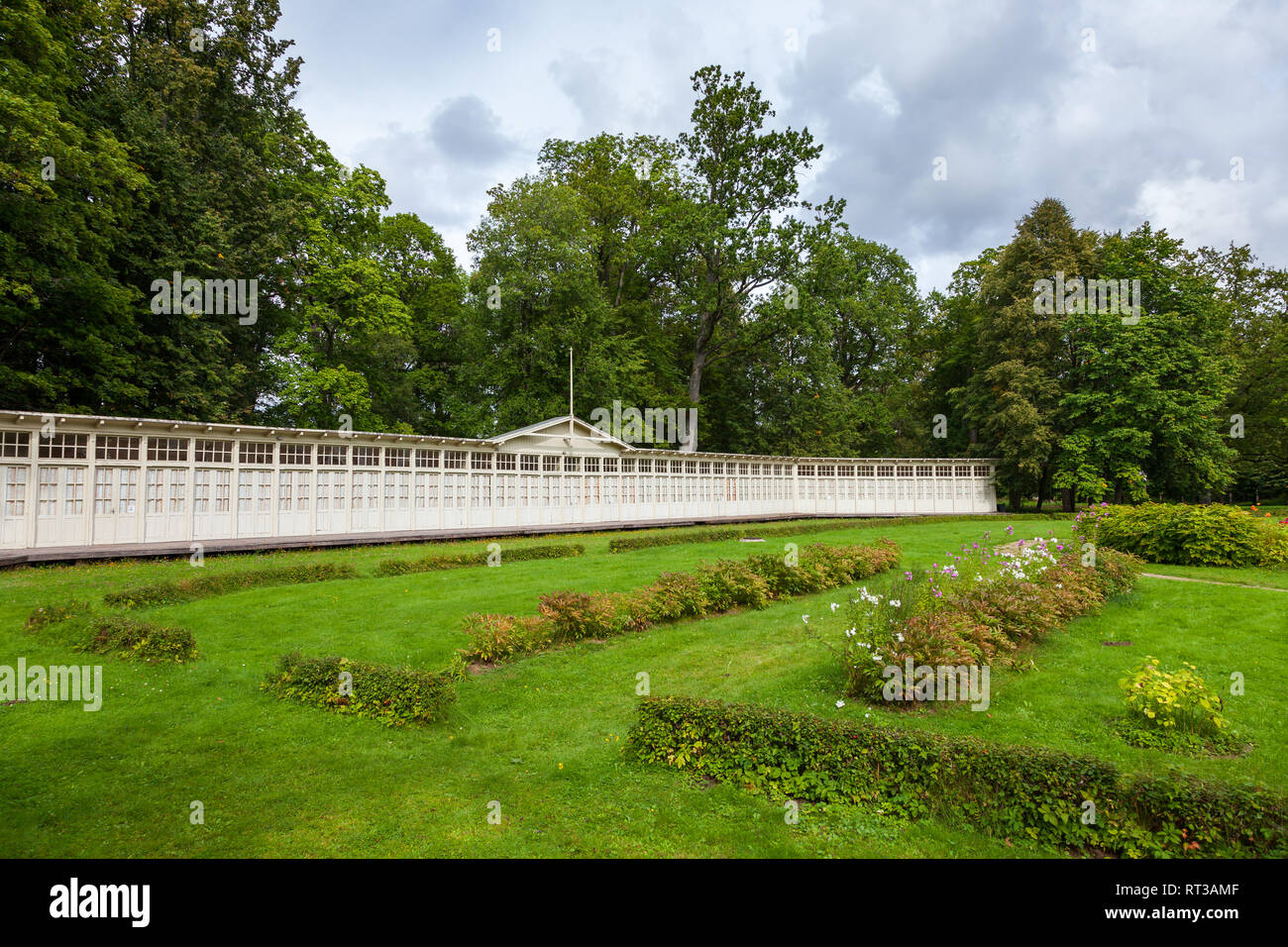 Summer houses of rehabilitation center in Krimulda manor, Sigulda Latvia. Stock Photo