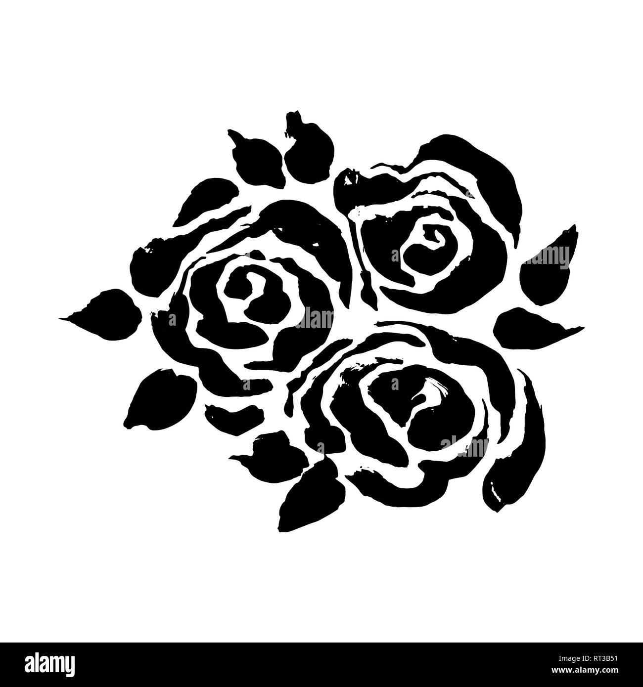 Abstract Grunge Ink Flower Background Roses Black Brush