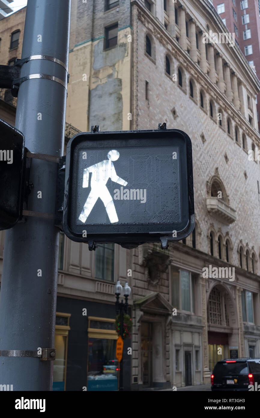 Pedestrian Crossing Signal Light, Tremont Street, Boston, Massachusetts - Stock Image