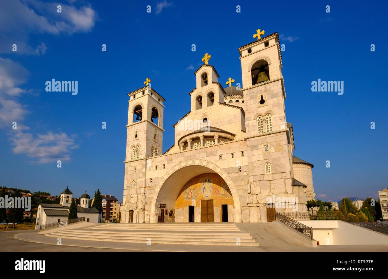 Montenegro, Podgorica, Serbian Orthodox church, Saborni Hram Hristovog Vaskrsenja - Stock Image
