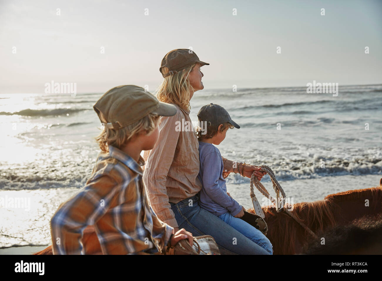 Chile, Vina del Mar, mother with two sons riding horses on the beach Stock Photo