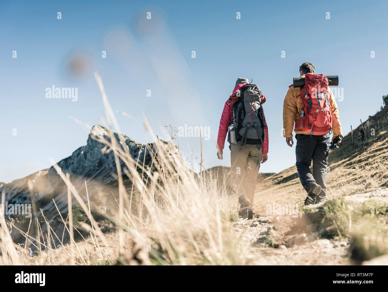 Austria, Tyrol, couple hiking in the mountains - Stock Image