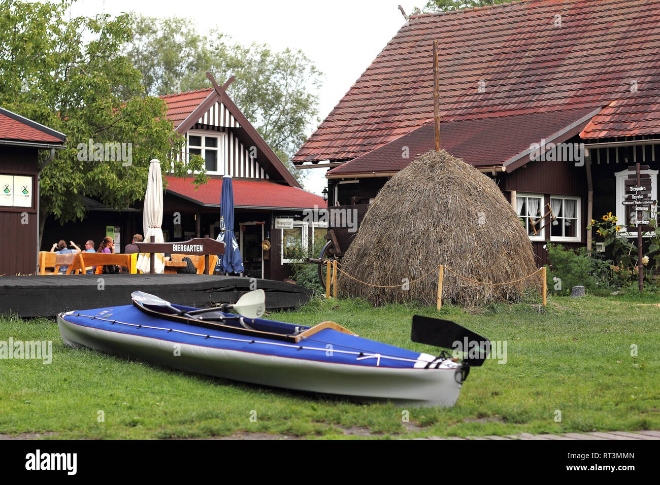 Old farmhouse in the Spreewald in Germany - Stock Image