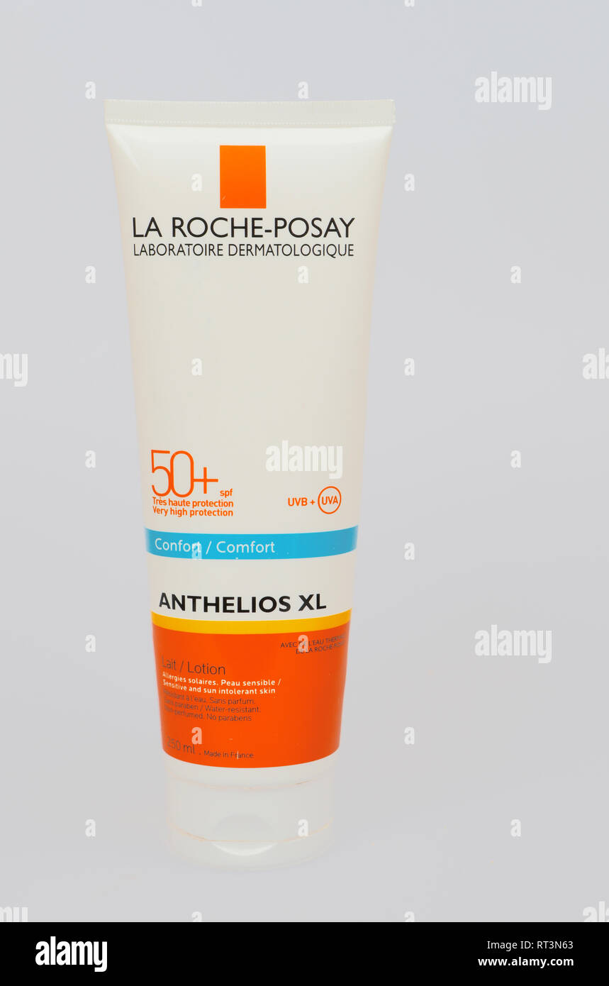 Sunscreen lotion. La Roche-Posay. France - Stock Image