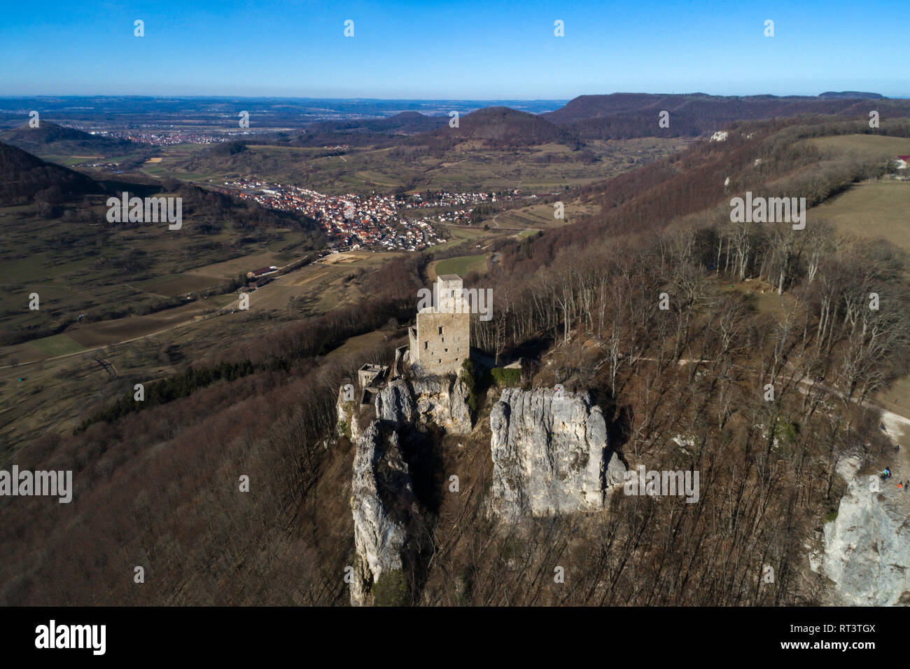 Scenic Swabian Alb with Reussenstein Castle, Neidlingen, Germany - Stock Image