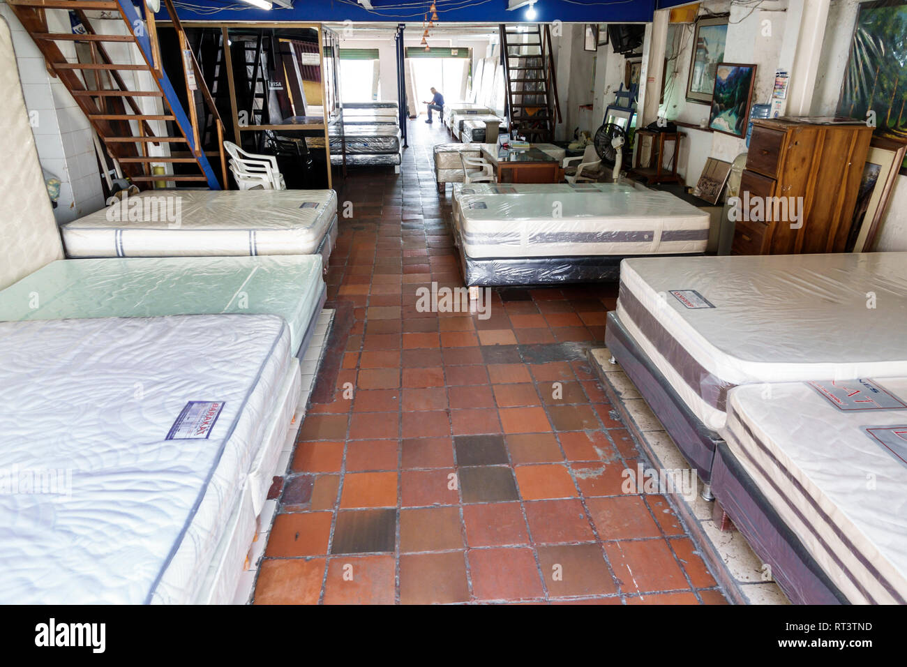 Cartagena Colombia Old Walled City Center centre Getsemani inside business display sale new mattresses beds store - Stock Image