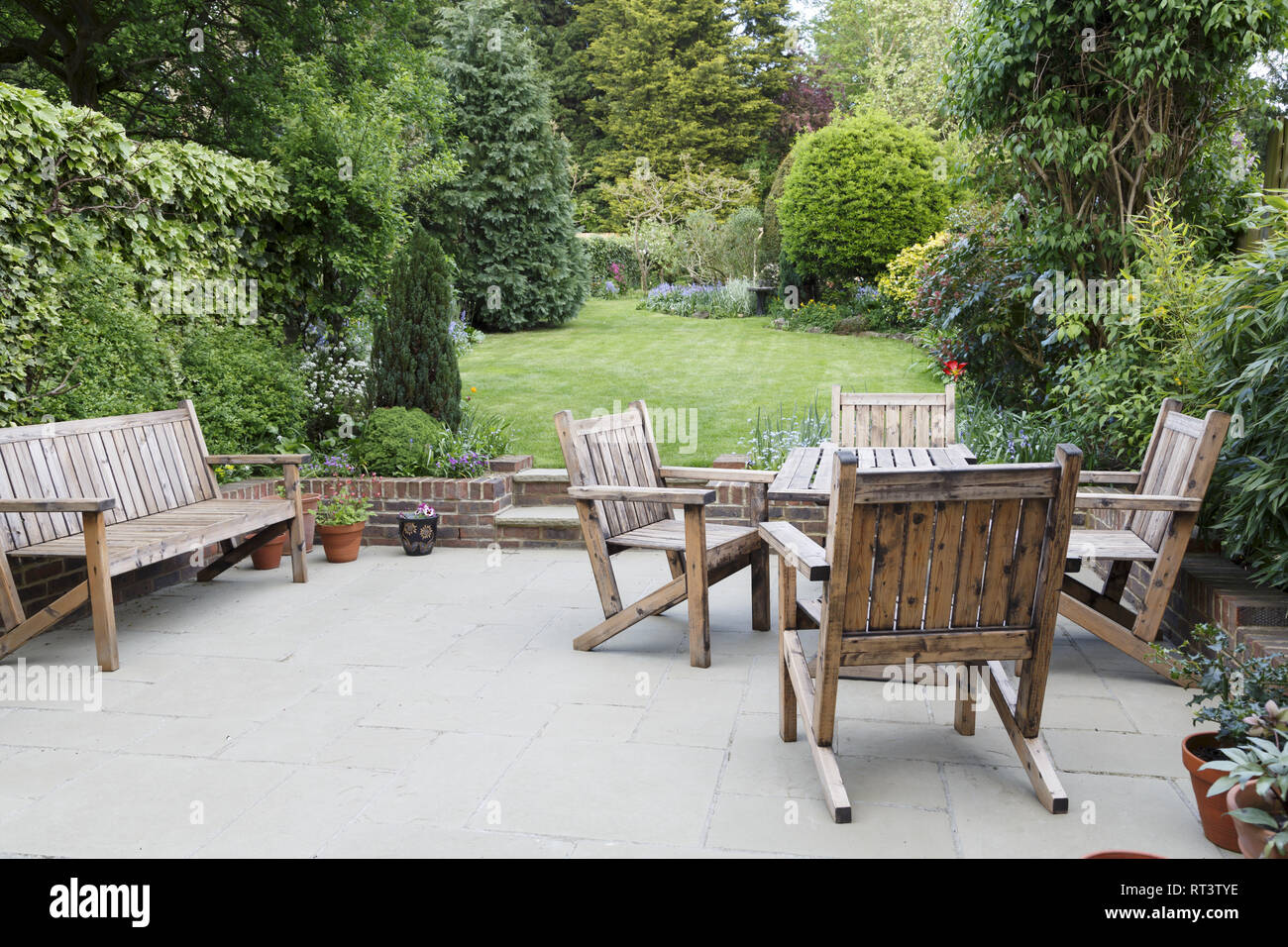 Wooden Garden Furniture High Resolution Stock Photography And Images Alamy