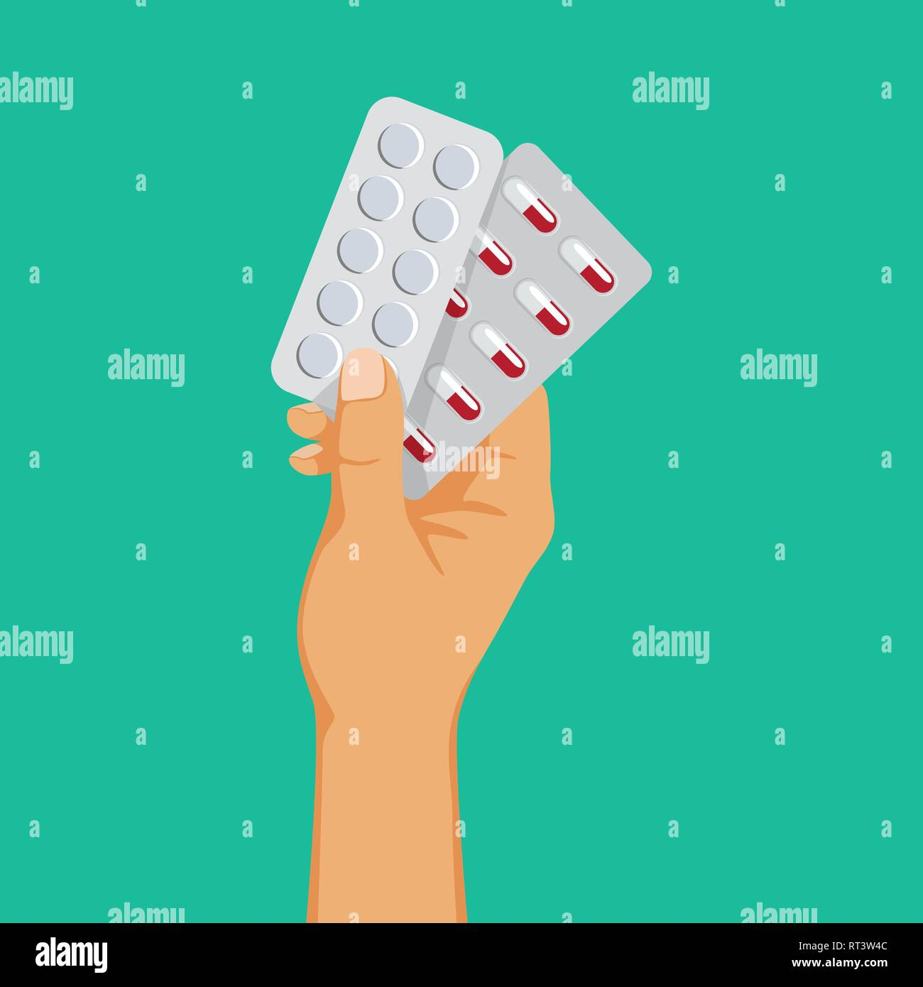 Medical drugs addiction, hand holding blisters with pills, antidepressant dependence, vector illustration. - Stock Image