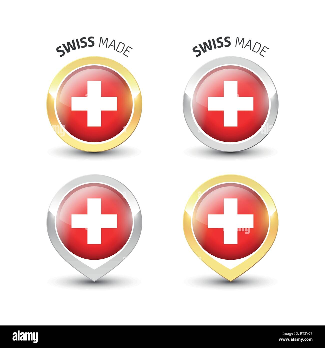 Swiss made - Guarantee label with the flag of Switzerland inside round gold and silver icons. - Stock Image