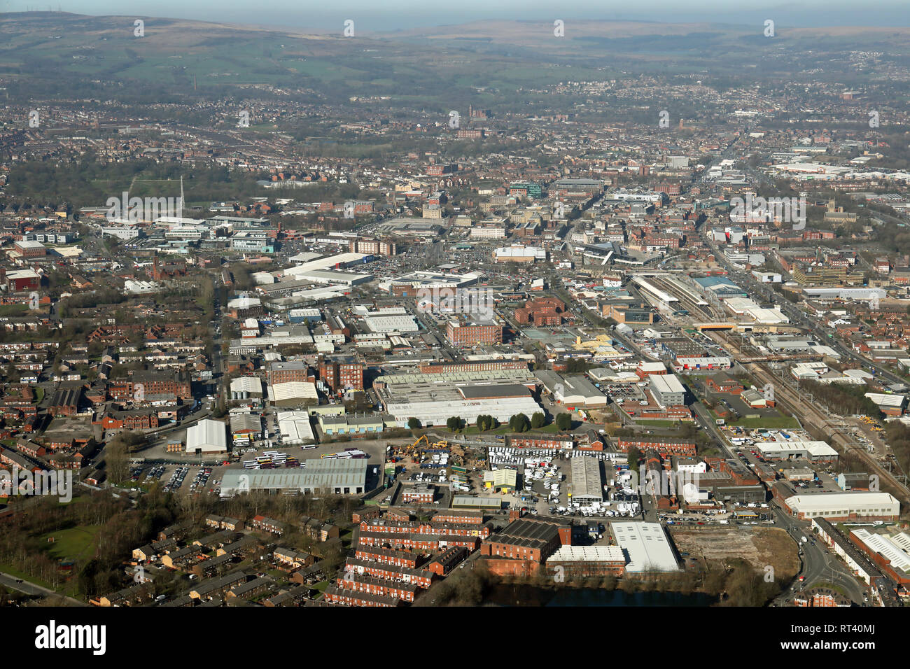 aerial view of the Bolton town skyline, Lancashire - Stock Image