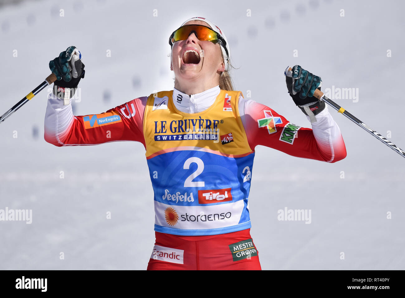 Seefeld, Austria, 23 February, 2019.  Therese Johaug of Norway wins nordic world ski championship skiathlon event. Her first world championship after - Stock Image