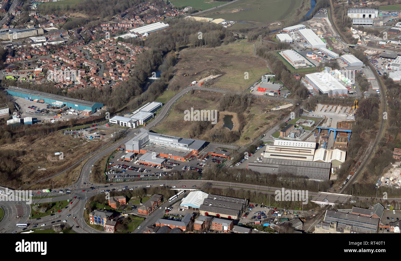 aerial view of the area of Bury north of Peel Way with the Greater Manchester Police building and Peel Industrial Estate,Manchester - Stock Image
