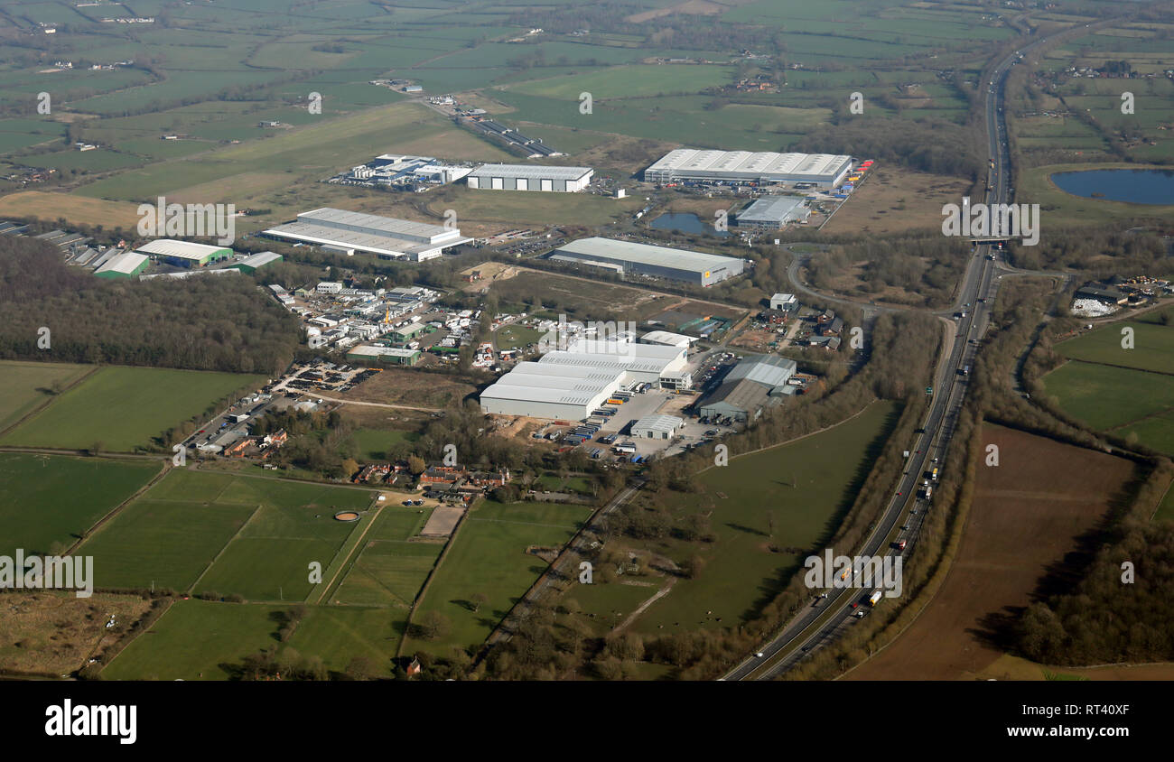 aerial view of Dove Valley Park industrial estate park at Foston near Derby - Stock Image