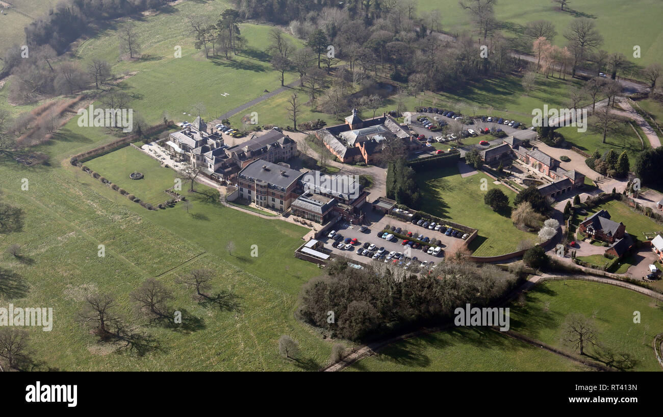 aerial view of Rookery Hall Hotel & Spa near Nantwich in Cheshire - Stock Image