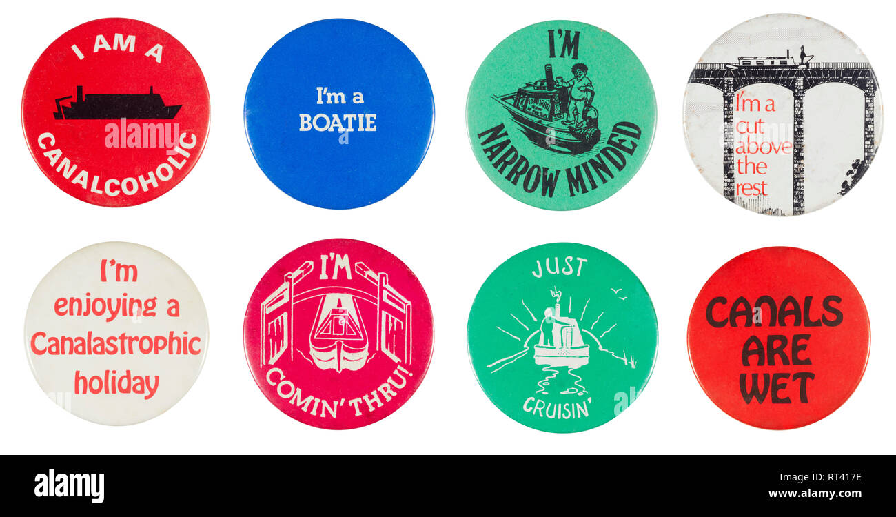 Collection of badges from the 1970s about canals and waterways - Stock Image