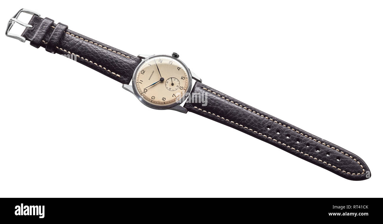 Dominant 1950s wind up Swiss made watch with new leather strap - Stock Image