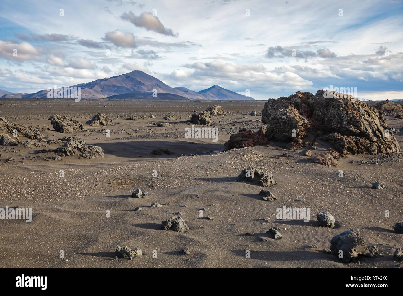 Desert sands volcanic ash and lava formations at Ódáðahraun (Lava of Evil Deeds), the largegst Icelandic lava field, Highlands of Iceland, Scandinavia - Stock Image