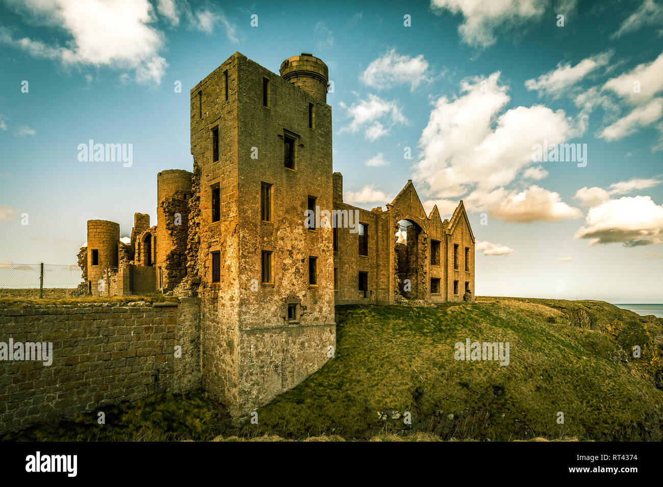 Slains Castle, also known as New Slains Castle, is a ruined castle in Aberdeenshire, Scotland. - Stock Image