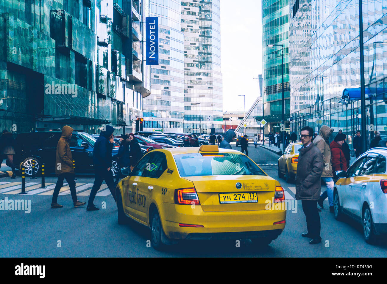 Moscow, Russia — February 18, 2019: Yandex Taxi car near Moscow