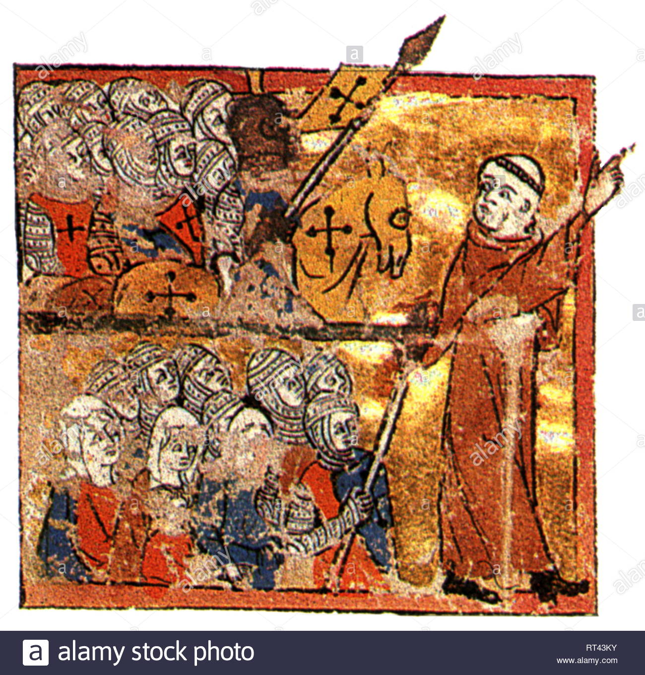 Middle Ages, crusades, First Crusade 1096 - 1099, Peter of Hermit is leading the crusaders to the Holy Land, 1096, print based on miniature, Abreviamen de las Estorias, circa 1350, Additional-Rights-Clearance-Info-Not-Available - Stock Image