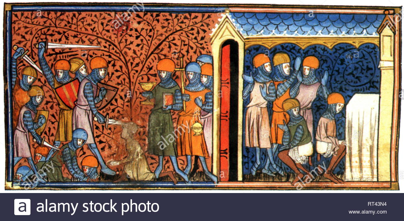 Middle Ages, crusades, Moslem are slaughtering Christians, pillaging and defiling a church, print after miniature, Chroniques de France ou de St Denis, circa 1325, Additional-Rights-Clearance-Info-Not-Available - Stock Image