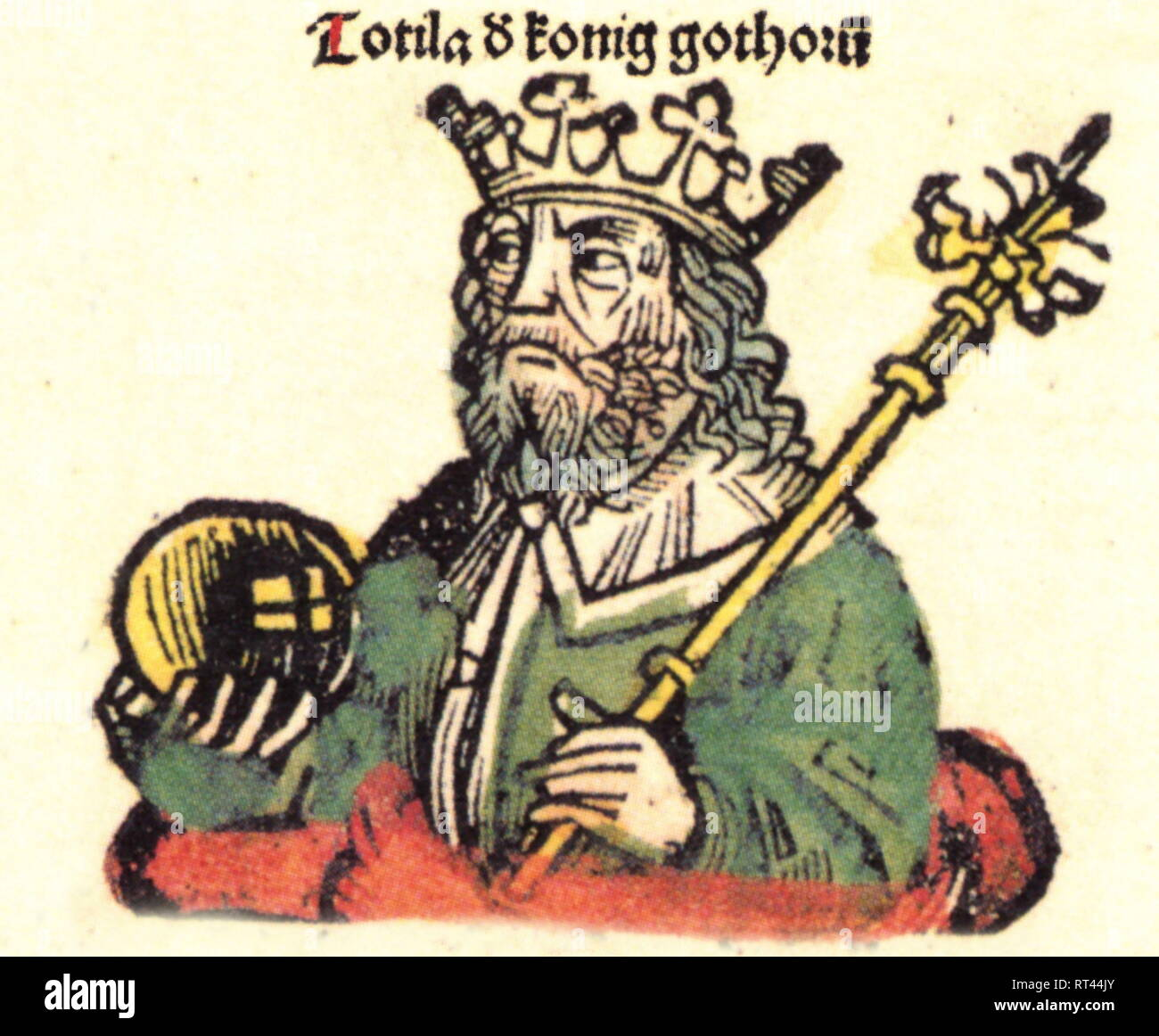 Totila, + 1.7.552, King of the Ostrogoth 542 - 552, half-length, woodcut by Michael Wolgemut or Wilhelm Pleydenwurff to the chronicle of Hartmann Schedel, Nuremberg, 1493, Artist's Copyright has not to be cleared - Stock Image