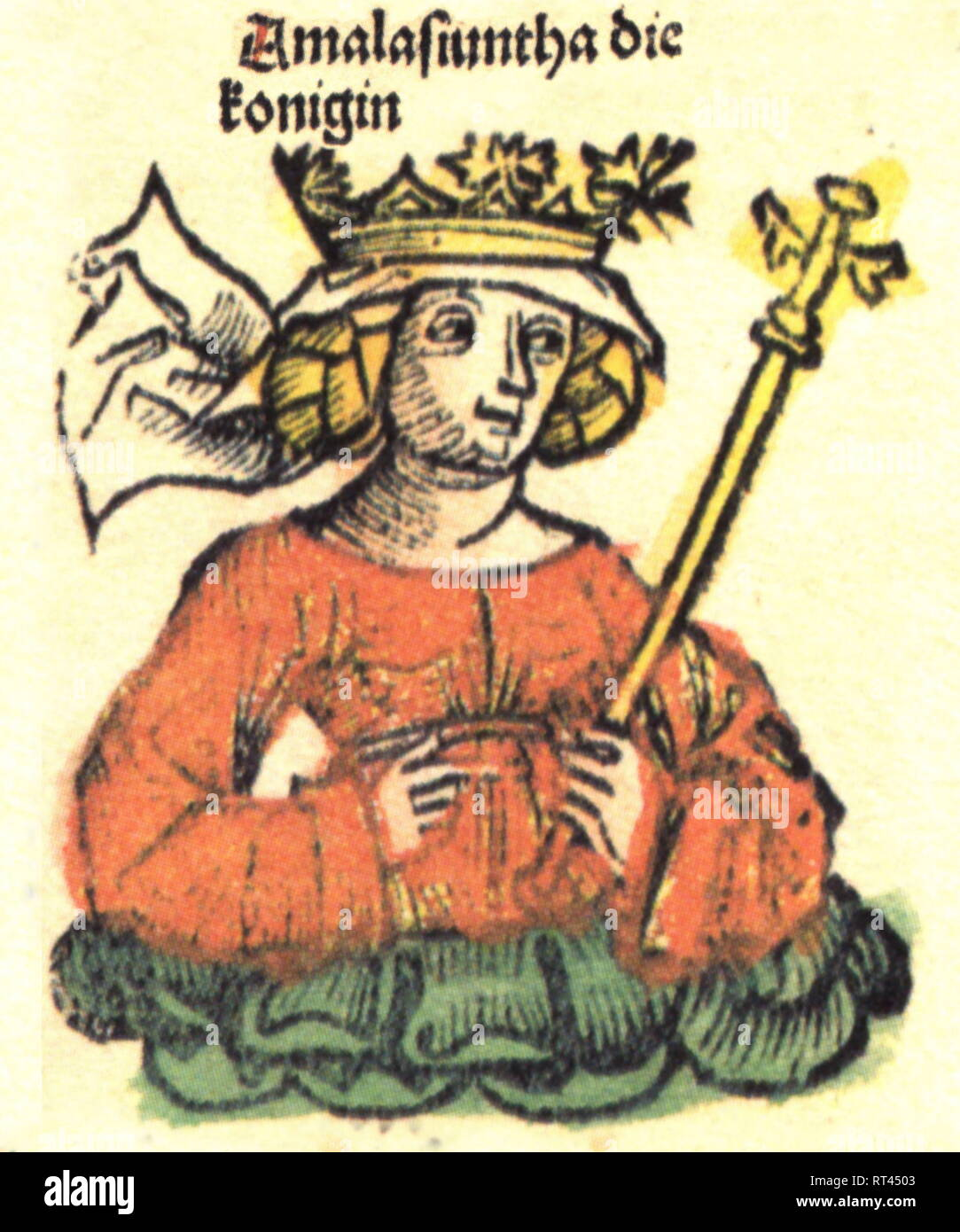 Amalasuntha, circa 495 - 30.4.535, ruler of the Ostrogoth 526 - 534, half-length, woodcut by Michael Wolgemut or Wilhelm Pleydenwurff to the chronicle of Hartmann Schedel, Nuremberg, 1493, Artist's Copyright has not to be cleared - Stock Image