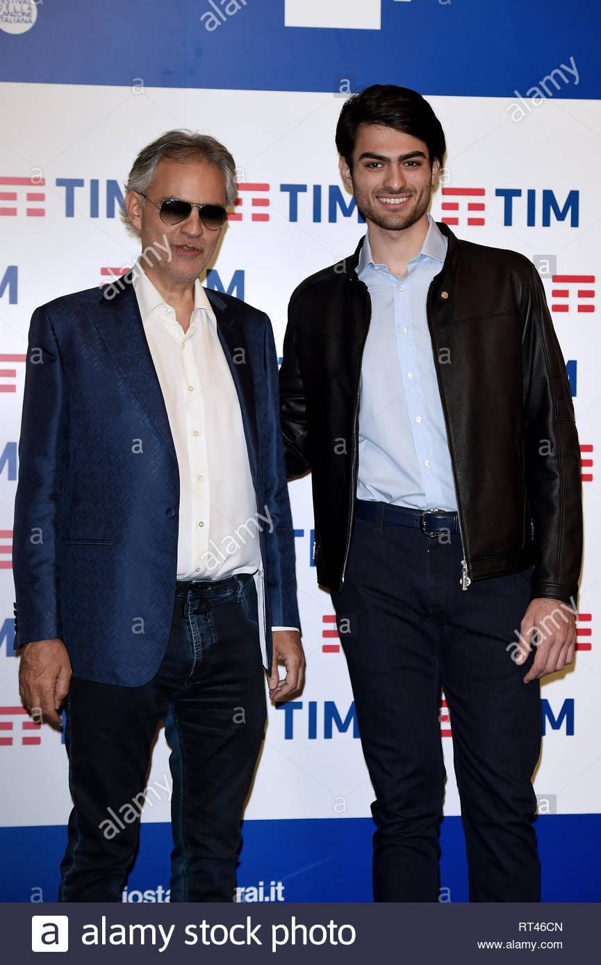 Andrea Bocelli, Matteo Bocelli Sanremo, 5 - 9 Febbraio 2019 69mo Festival della canzone italiana - Stock Image