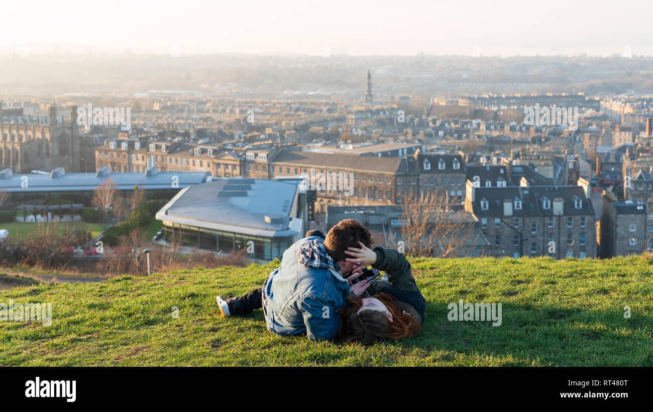 Edinburgh, Scotland, UK. 26 February, 2019. Tourists enjoy view of Leith from Calton Hill in Edinburgh after a clear day , Edinburgh, Scotland, UK Stock Photo