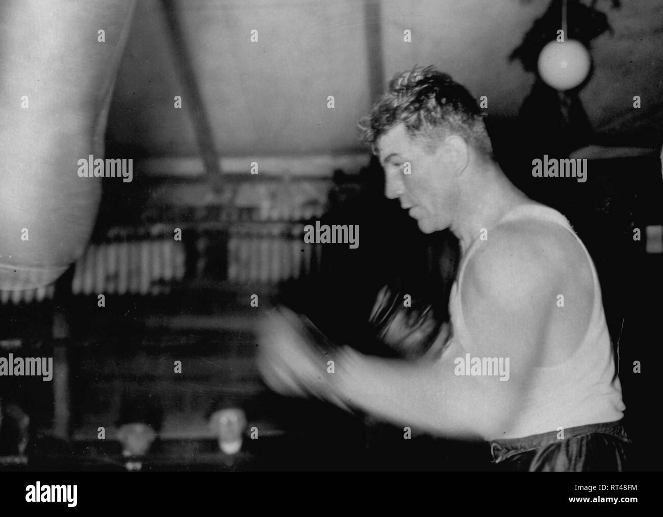 Dudas, Steve, 2.7.1913 - 8.3.1999, American boxer, during preparation for the boxing match against Max Schmeling, training camp near Hamburg, March 1938, Additional-Rights-Clearance-Info-Not-Available - Stock Image