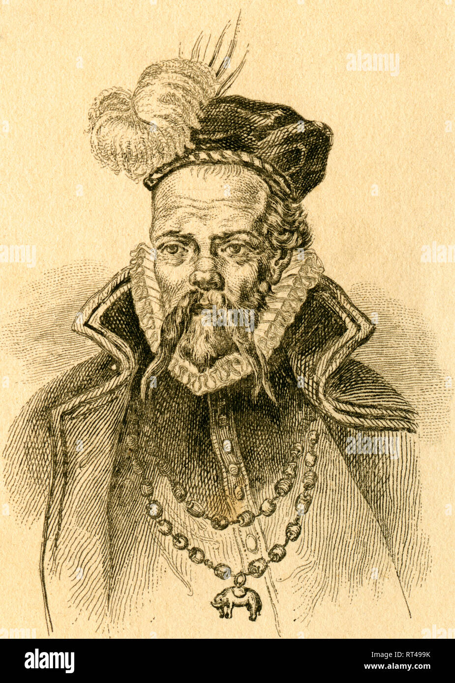 Tycho Brahe, Danish nobleman and astronomer, steel engraving from an book or magazine, about 1830th., Artist's Copyright has not to be cleared - Stock Image