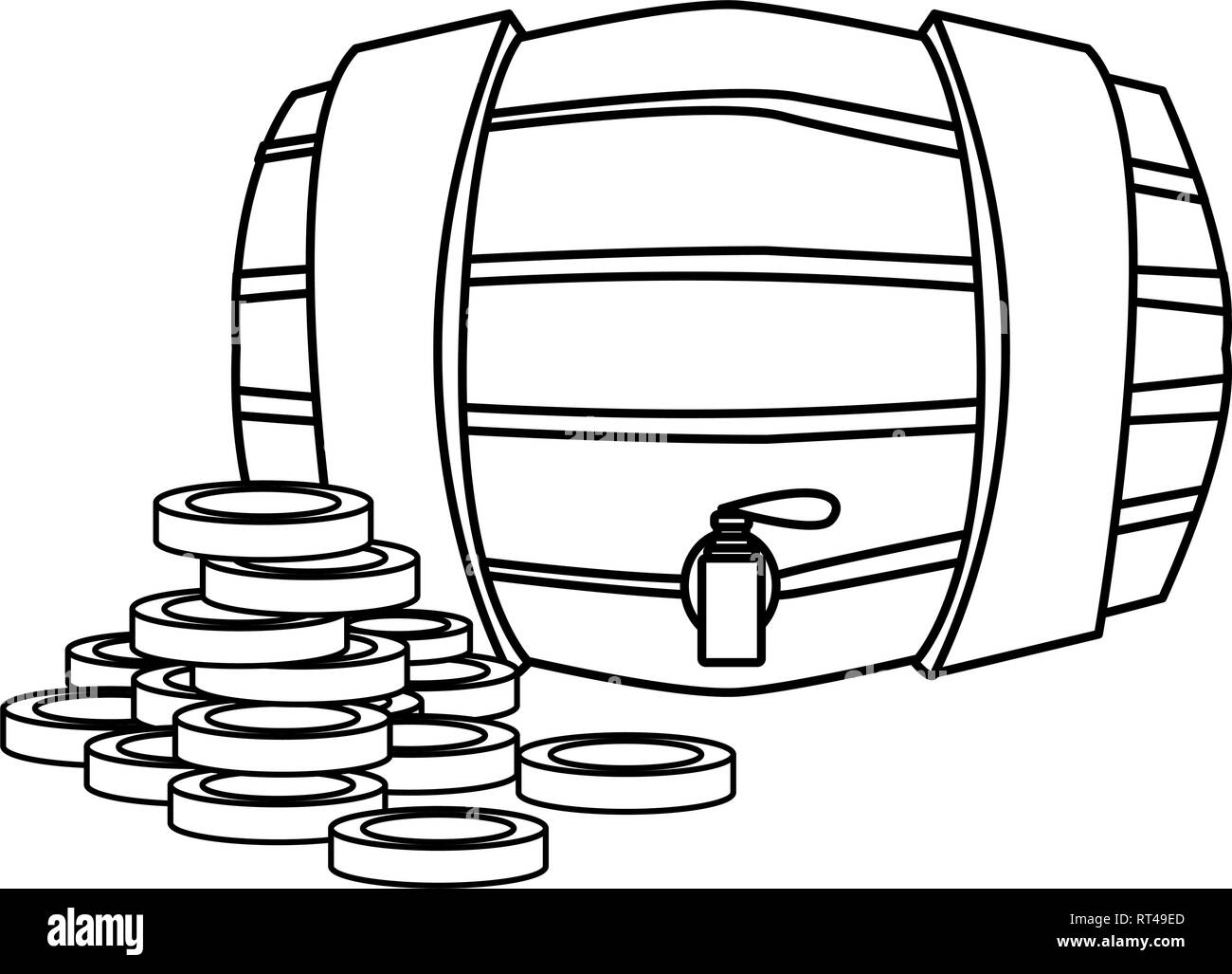 barrel and coins fortune happy st patricks day vector illustration - Stock Image