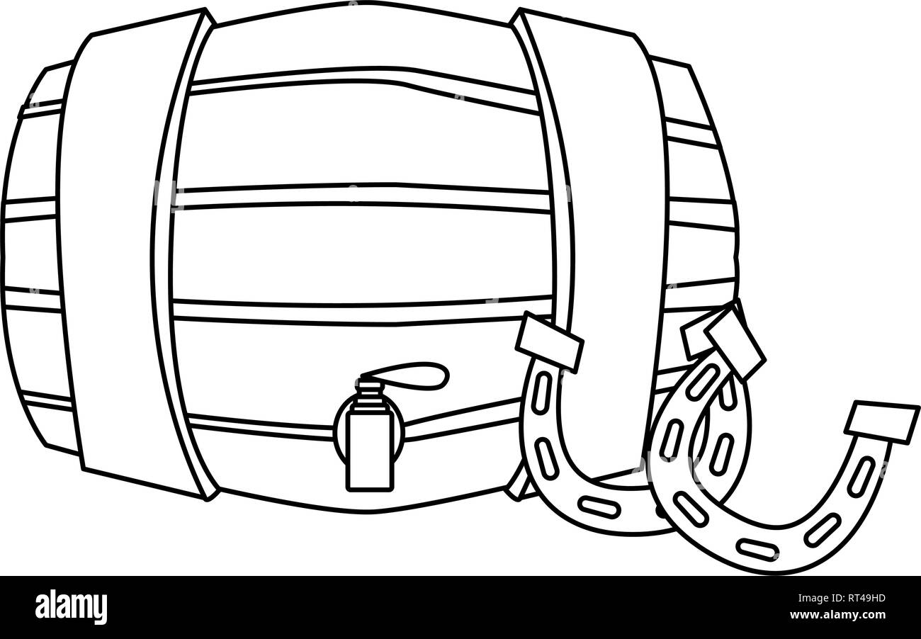 horseshoes barrel happy st patricks day vector illustration - Stock Image