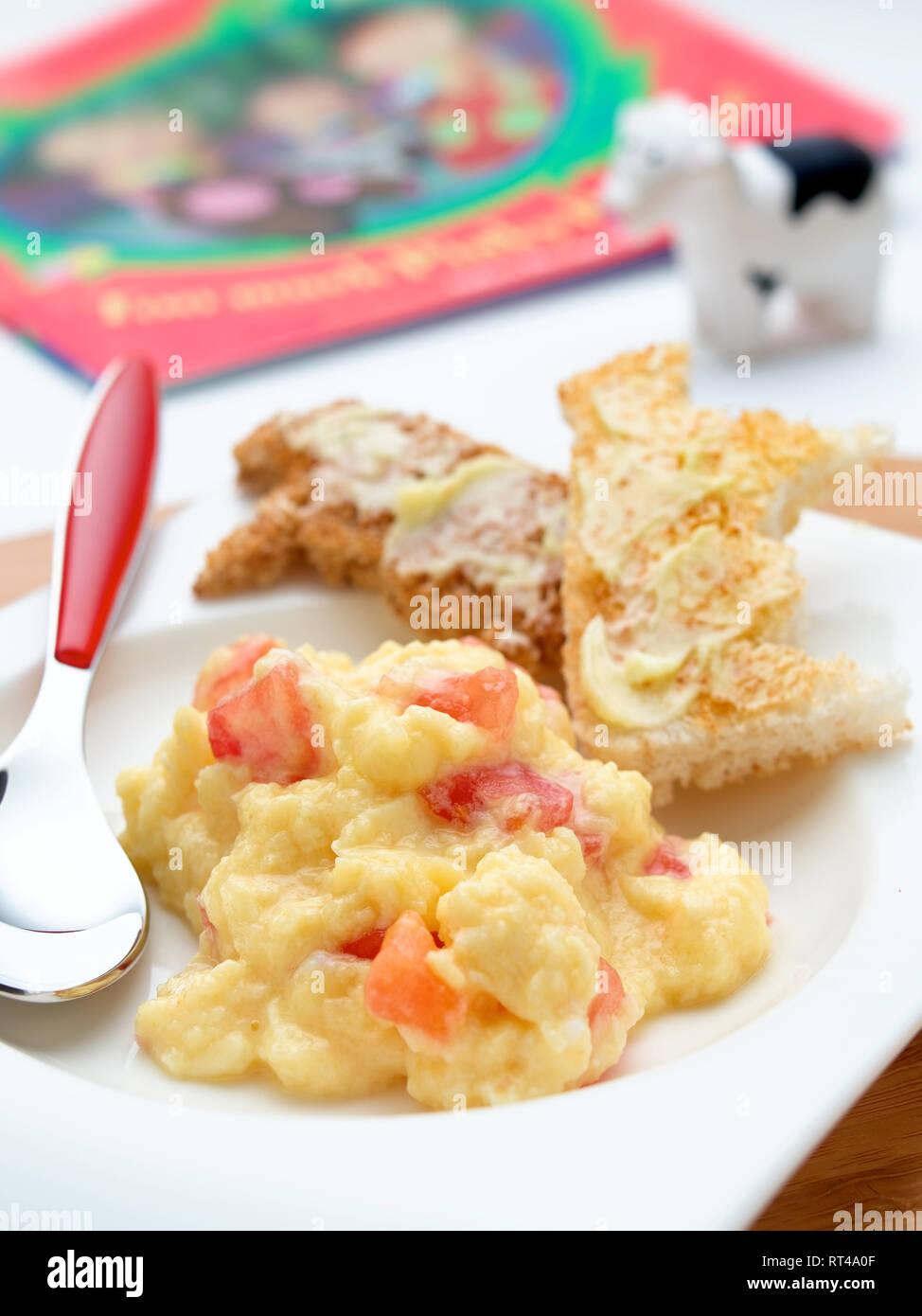 baby scrambled egg - Stock Image