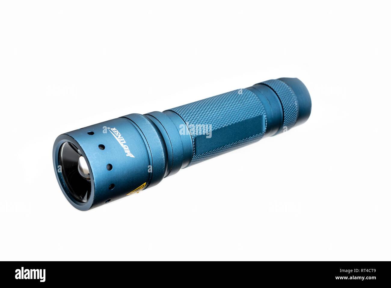 Led Lenser hand held torch or flashlight. - Stock Image