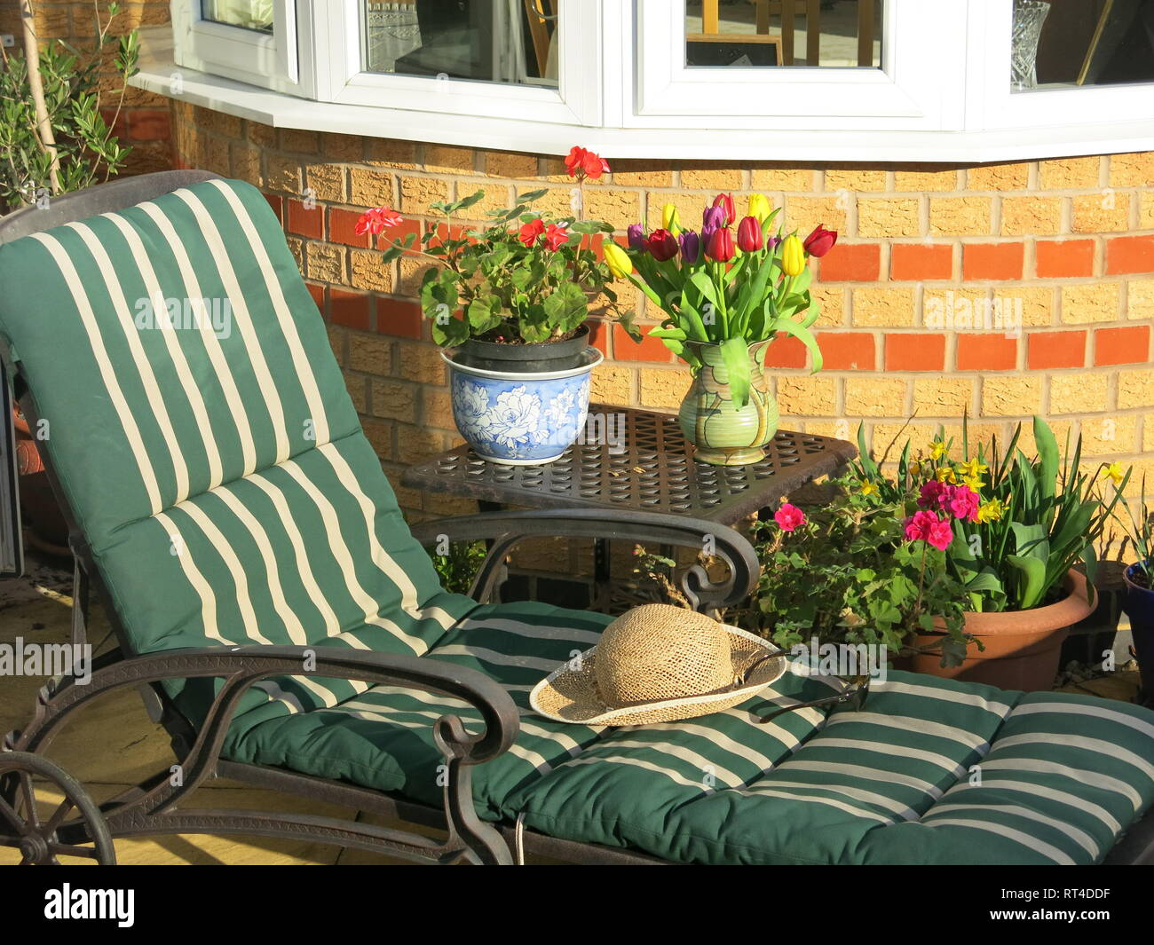 Record-breaking warm weather in February 2019 brings the opportunity to sunbathe in an English back garden. - Stock Image