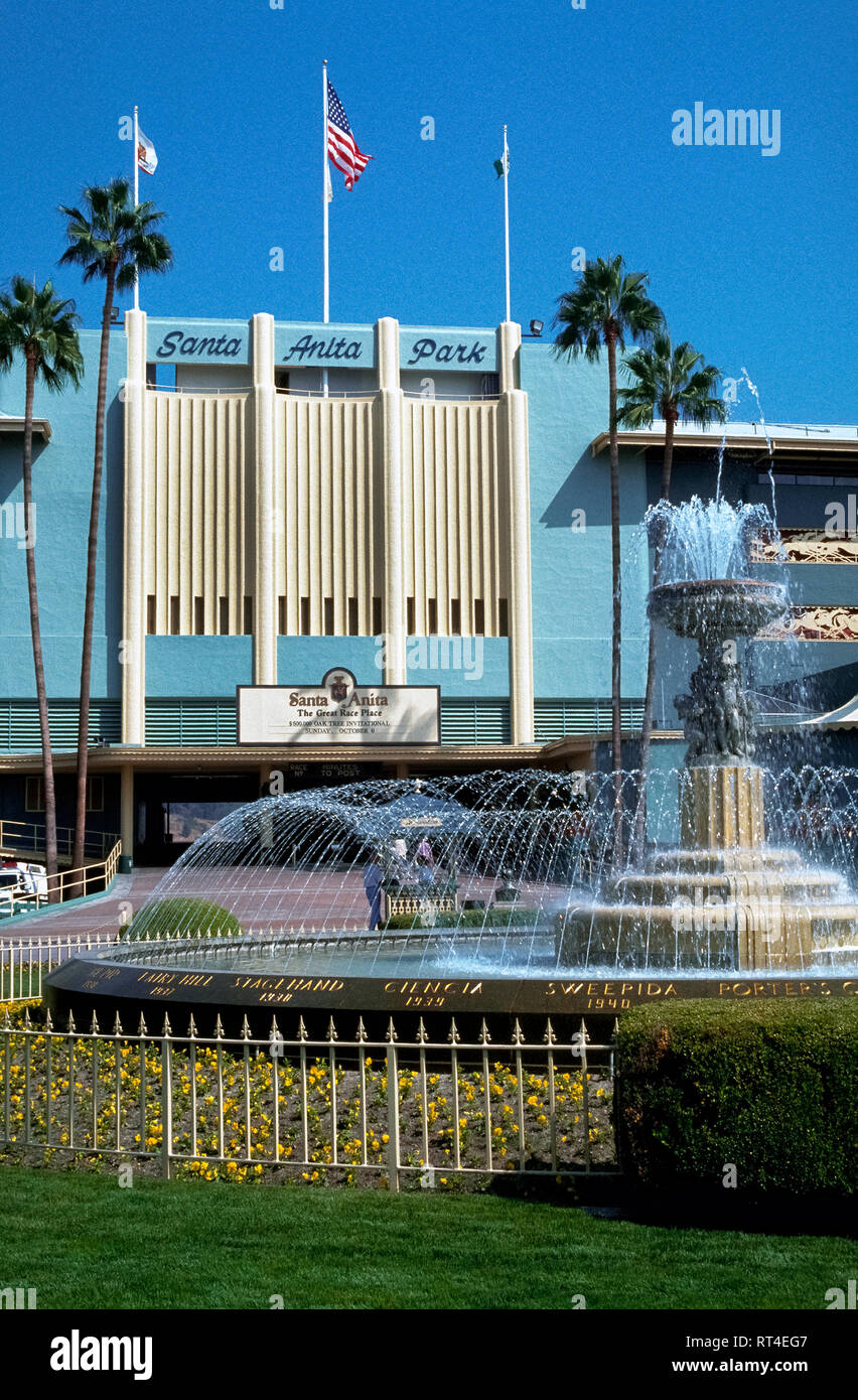 An art-deco facade identifies historic Santa Anita Park, which opened in 1934 in Arcadia near Los Angeles and is the oldest thoroughbred horse racetrack in Southern California, USA. Attendance at the Santa Anita track and the number of races there increased when the other major thoroughbred race course in Los Angeles County, Hollywood Park, closed in 2013 after being in operation since 1938. - Stock Image