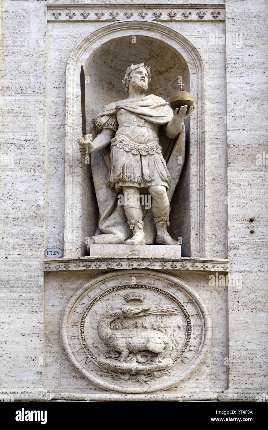 Statue of Saint Louis IX (1214-1270) King of France, Church of Saint Louis of the French (1589) or San Luigi dei Francesi, Rome, Italy Stock Photo