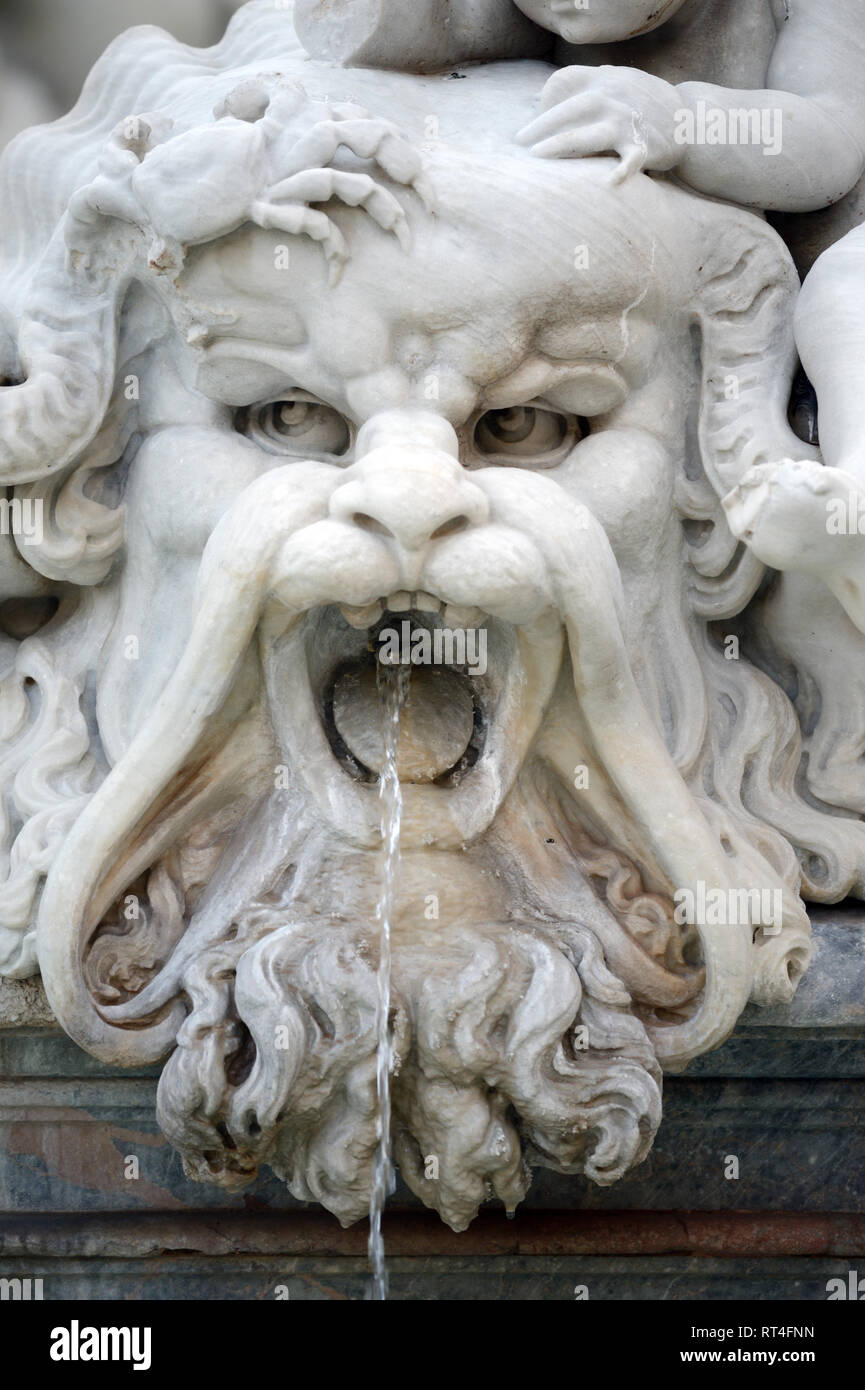 Mythical Creature, Fountain of Neptune (1574) designed by Giacomo della Porta on Piazza Navona or Navona Square in the Historic District of Rome Italy - Stock Image
