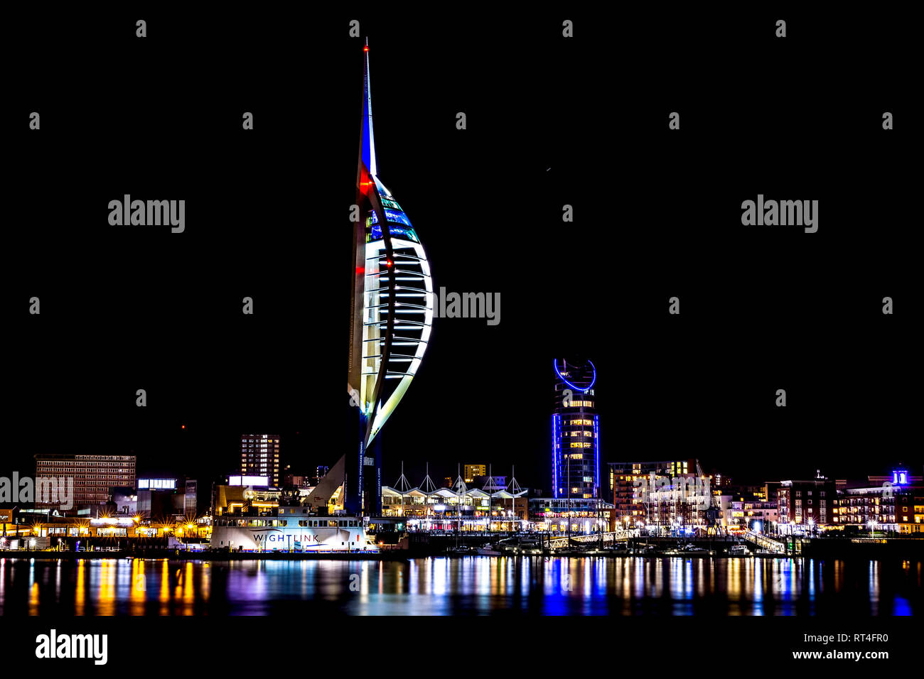 Spinnaker Portsmouth at night Stock Photo