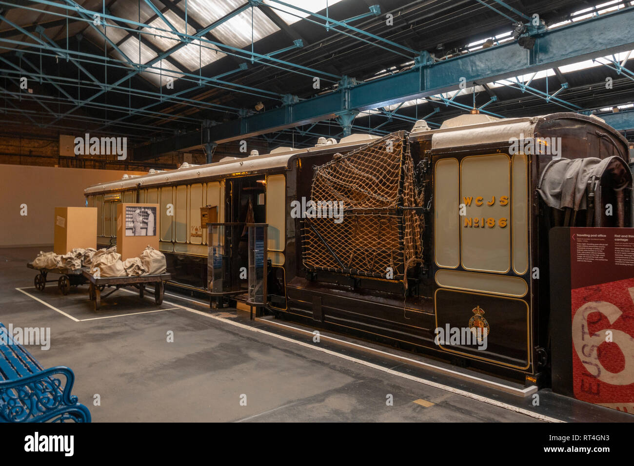 Travelling Post Office (TPO) carriage (1880's-1930's) on display in the National Railway Museum, York, UK. Stock Photo