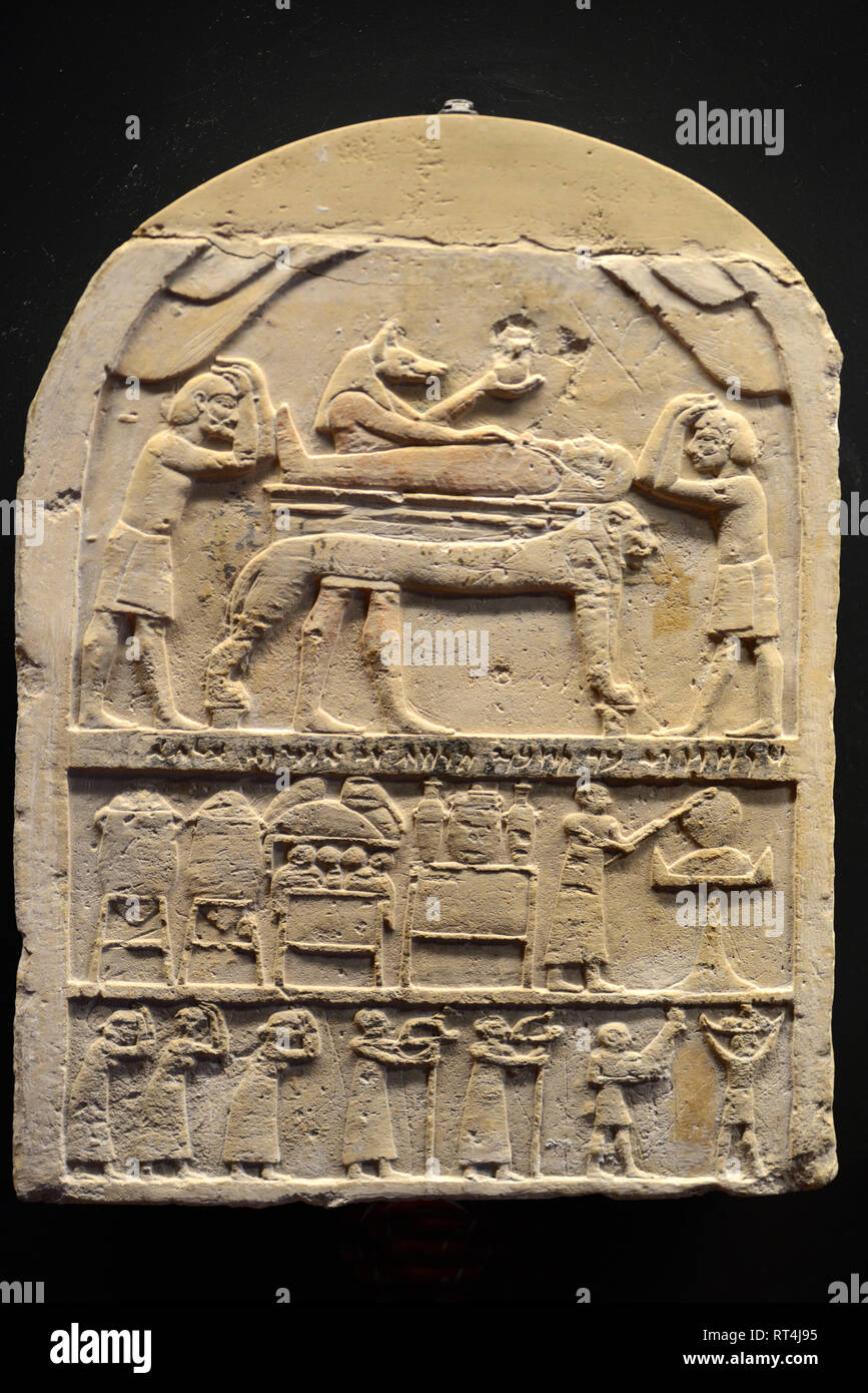 Funerary Stele or Tombstone with Bas-Relief Portraying Funeral Rites in Memphis (525-404BC) Ancient Egypt in Egyptian Museum Vatican Museums - Stock Image