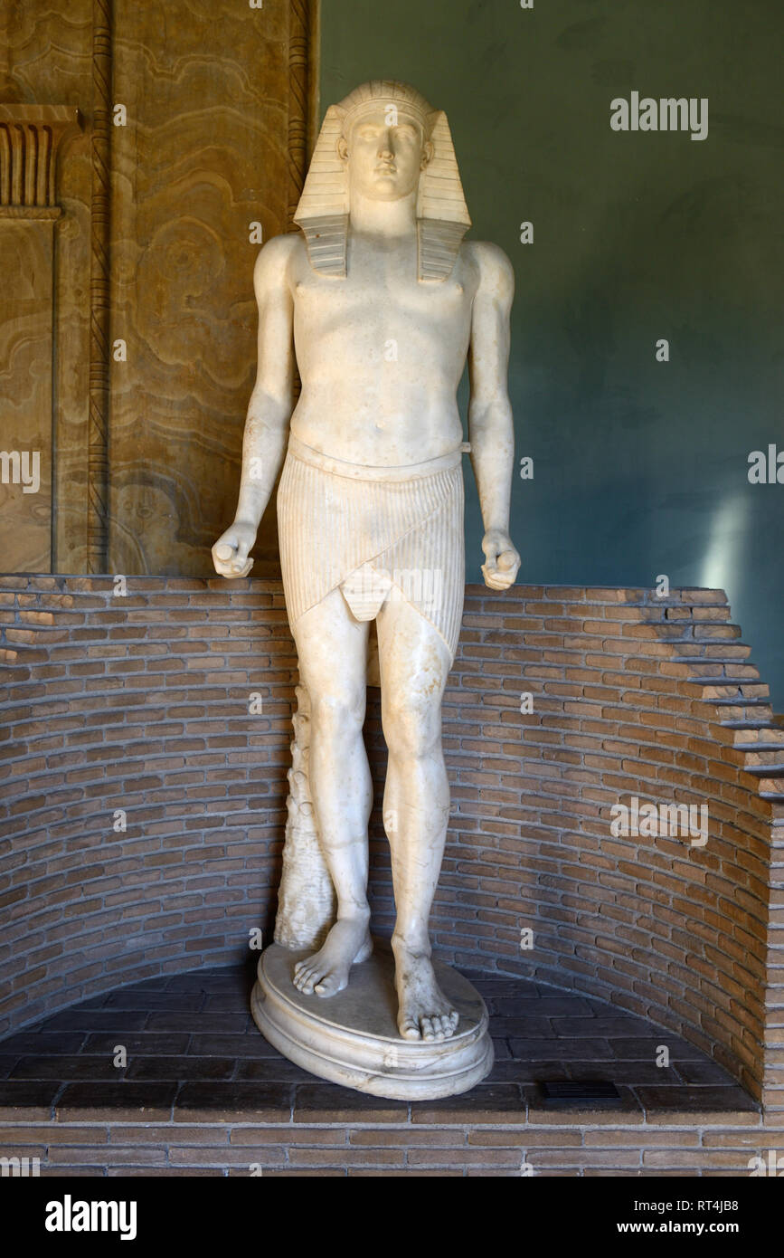 Statue of Antinous (c111-130AD), Bithynian Greek Youth & Favourite of Roman Emperor Hadrian, Egyptian Museum Vatican Museums Stock Photo