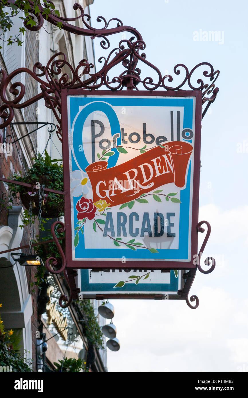 Portobello Garden Arcade Sign & Logo, Notting Hill, London - Stock Image
