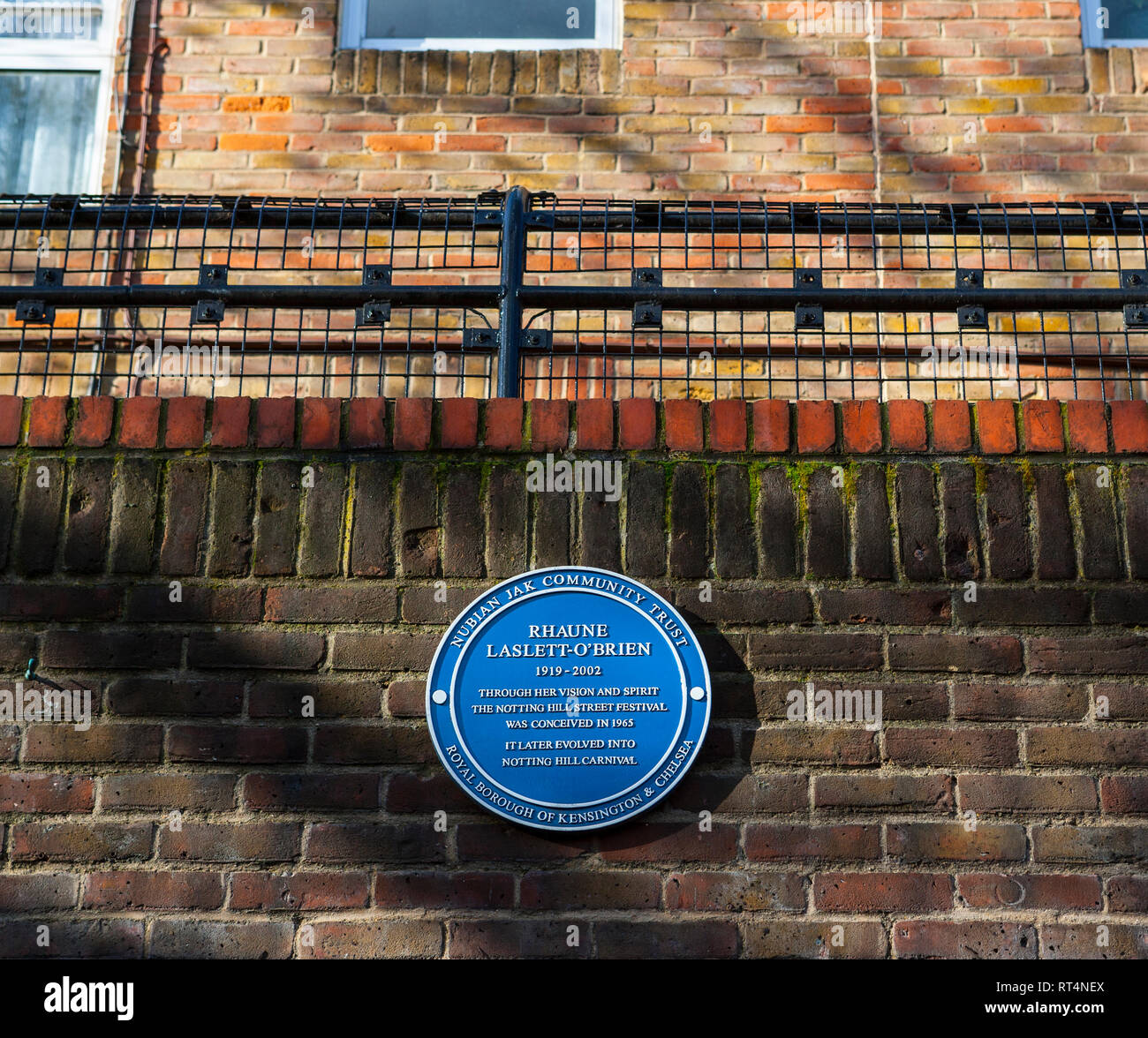 Blue Plaques celebrating individuals who organised and developed the annual Notting Hill Carnival: Rhaune Laslett-O'Brien - Stock Image