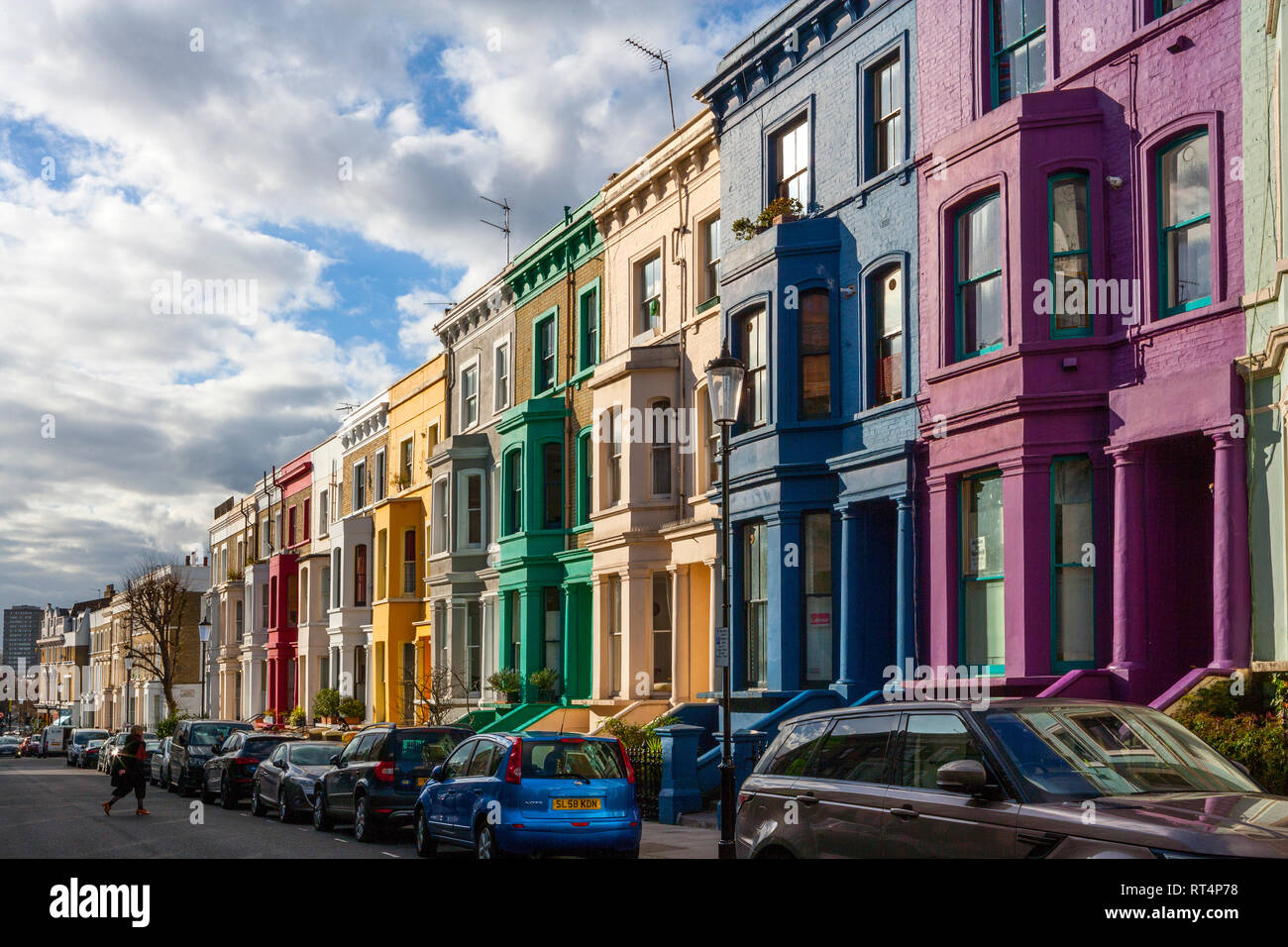 Brightly Painted Houses, Notting Hill, London - Stock Image
