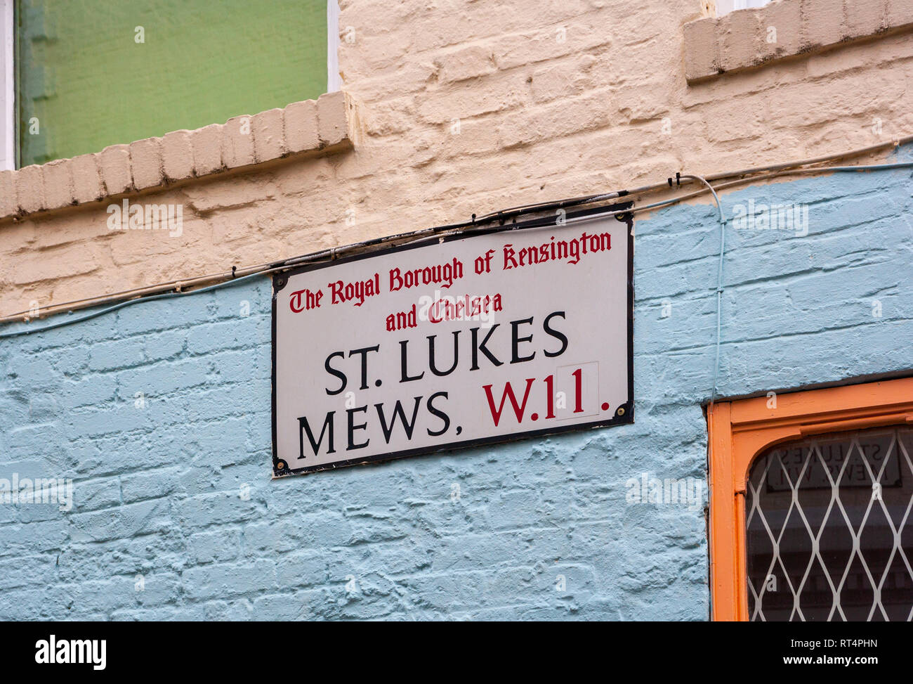 St Luke's Mews street sign, Notting Hill, London - Stock Image
