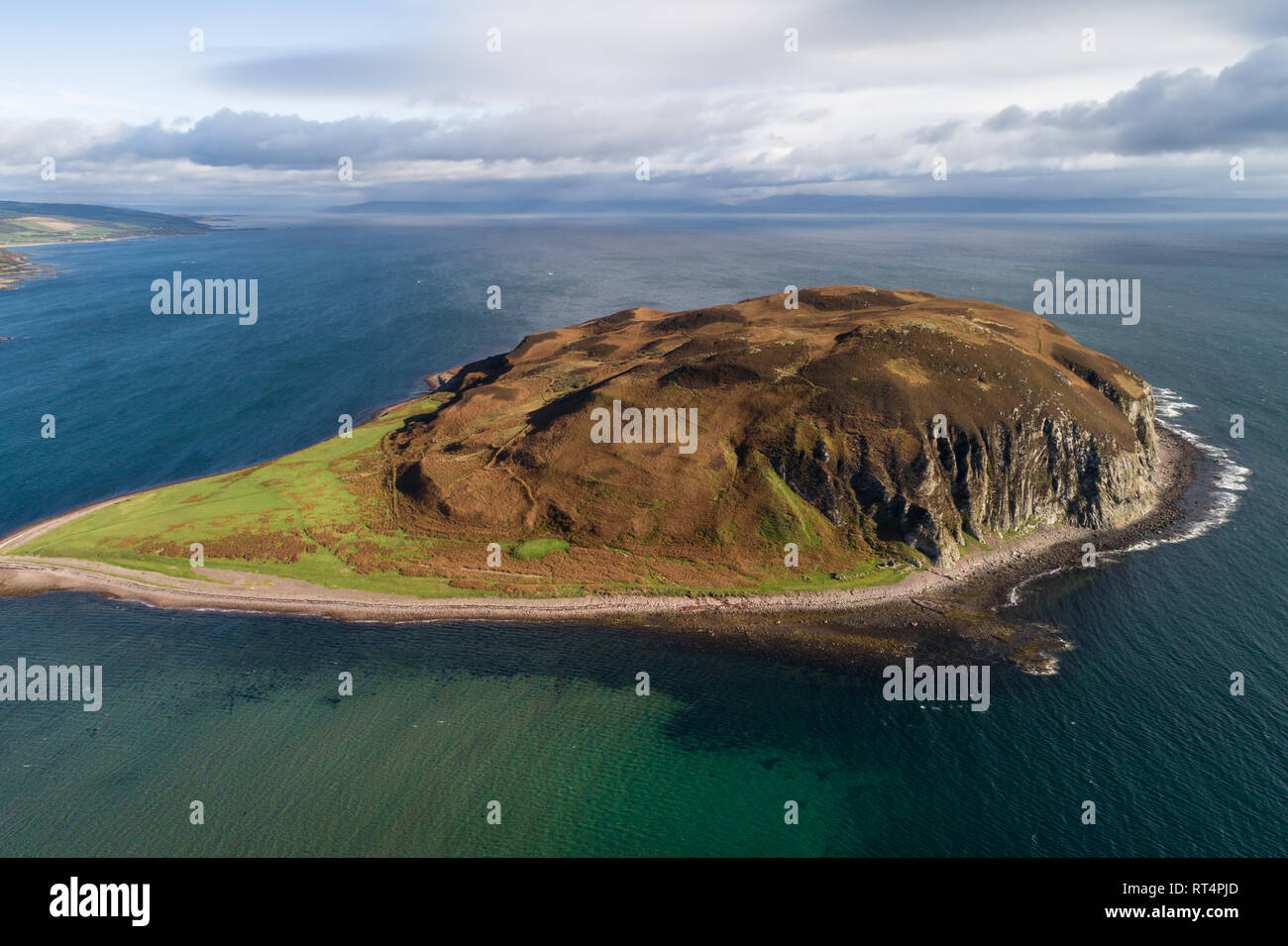 Aerial image showing Davaar Island in dramatic light. - Stock Image